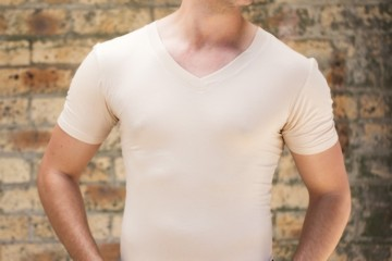 invisible undershirt on model