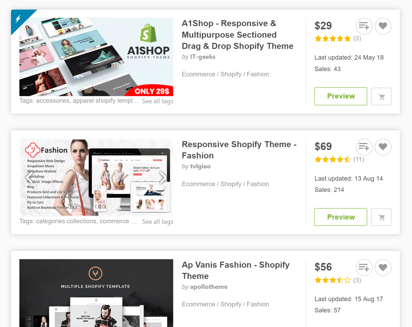 Browsing for eCommerce themes